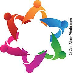 logo, gemeinschaftsarbeit, ikone