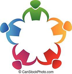 logo, gemeinschaftsarbeit, leute, hände halten