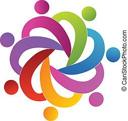 logo, gemeinschaftsarbeit, leute, portion