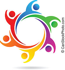 logo, gemeinschaftsarbeit, leute, vektor