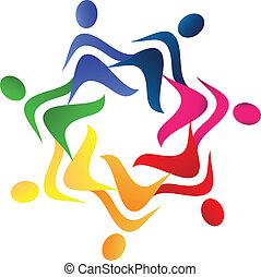 logo, gemeinschaftsarbeit, portion