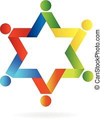 logo, gemeinschaftsarbeit, stern, leute