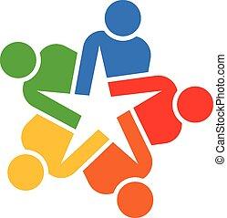 logo, gemeinschaftsarbeit, sternen, leute
