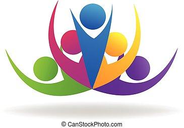 logo, gemeinschaftsarbeit, swooshes