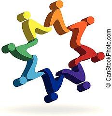 logo, gens, étoile, tenant mains