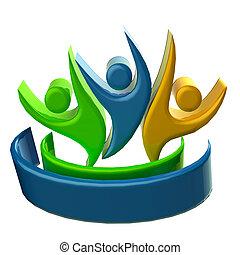 logo, gens, 3d, business, icône