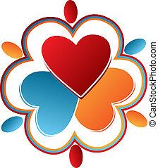 logo, gens, cœurs