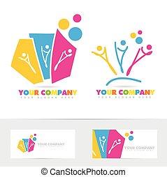 logo, gens, coloré, fête