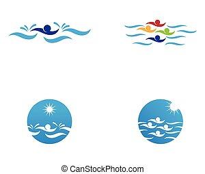 logo, gens, natation, vecteur