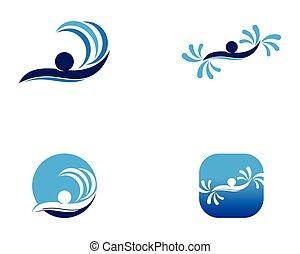 logo, gens, vecteur, natation