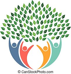 logo., gente, ambiental, árbol