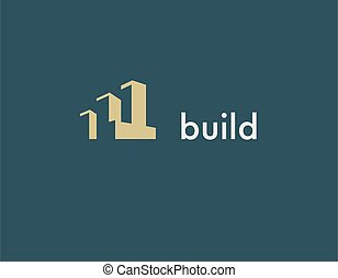 Logo geometric shapes building for construction company