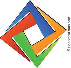 logo, geometryczny, diament, skwer