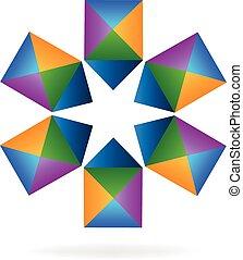 logo, geometryczny, wektor, forma gwiazdy