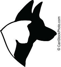 logo, (german, shepherd), chien, chat