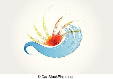 logo, gespetter, golven, zon