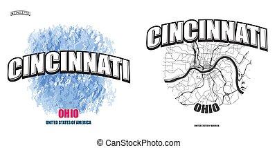 logo, gestaltungsarbeiten, cincinnati, ohio, zwei