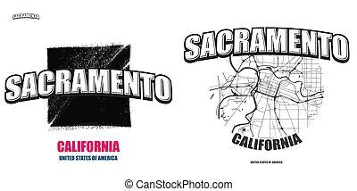 logo, gestaltungsarbeiten, kalifornien, sacramento, zwei