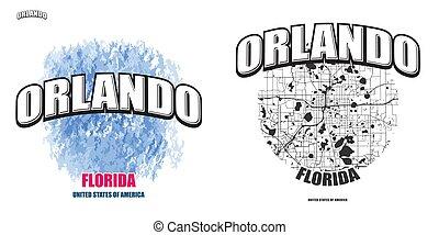 logo, gestaltungsarbeiten, orlando, florida, zwei