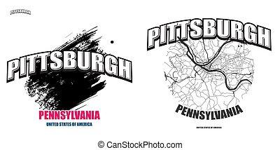 logo, gestaltungsarbeiten, pennsylvania, zwei, pittsburgh