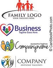 logo, gezin, set