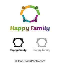 logo, gezin, vrolijke