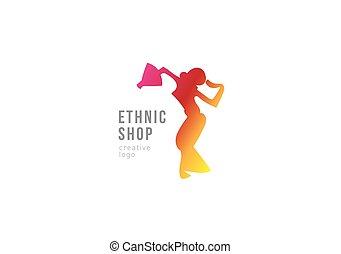logo, girl, danse, ethnique, shop.