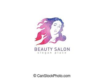 Logo Girl with flying hair