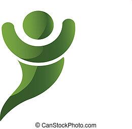logo, glade, grønne, menneske, swoosh