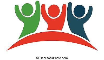 logo, glade, venskab, folk
