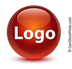 Logo glassy brown round button