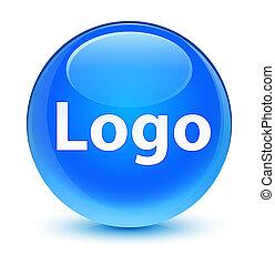 Logo glassy cyan blue round button