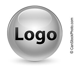 Logo glassy white round button