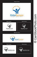 logo, global, conception, reussite