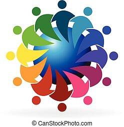logo, global, gestion réseau, gens, collaboration
