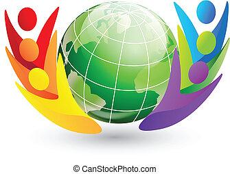 logo, globe, figures