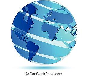 logo, globe, kaart, wereld