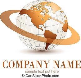 Logo globe. - Logo earth globe, gold planet with dynamic...