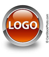 Logo glossy brown round button