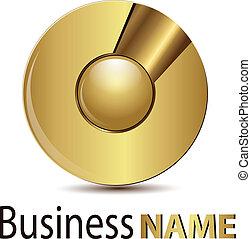 logo, gold, kugelförmig