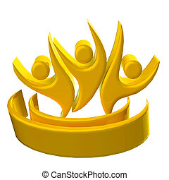 Logo gold teamwork 3D optimistic people icon