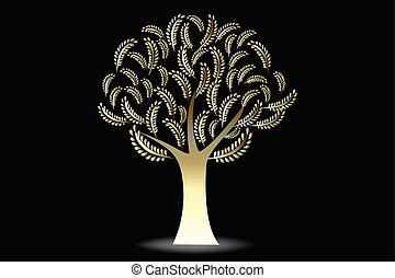 Logo gold tree floral wedding symbol