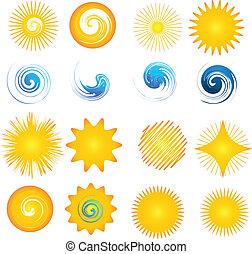 logo, golven, pictogram, verzameling, zon