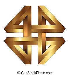 logo, goud