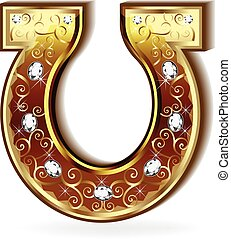 logo, goud, paardenhoef
