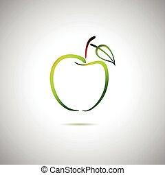 logo, grönt äpple