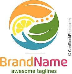 logo, grønne, frugt, blad, hånd
