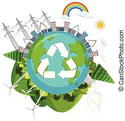 logo, grønne, natur
