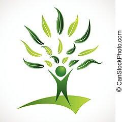 logo, grønnes træ, det leafs, folk