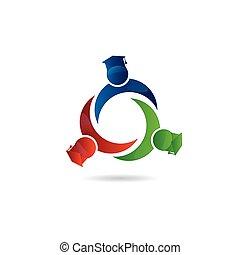 Logo graduation friendship students icon